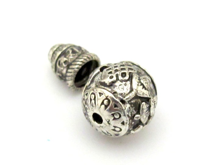 2 sets - Guru bead with column bead - Tibetan silver ashtamangala symbols 3 hole Guru bead 12 mm size and om mantra column bead - GB012