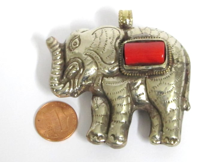 Ethnic Tibetan silver finish Large Size  Elephant pendant with coral inlay - PM354C