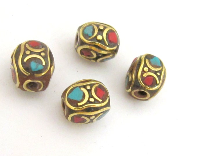 2  beads - Tibetan brass bead with turquoise coral inlay - BD730