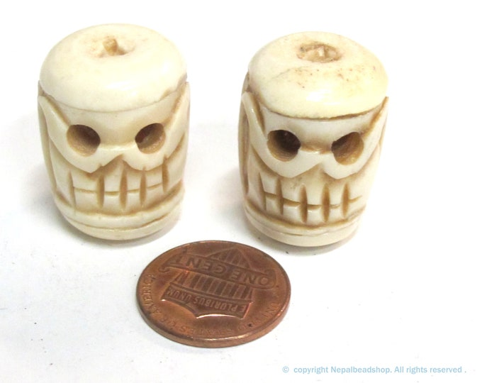 2 Beads - Large thick handmade skull carved  handmade old bone beads cream color - HB014K