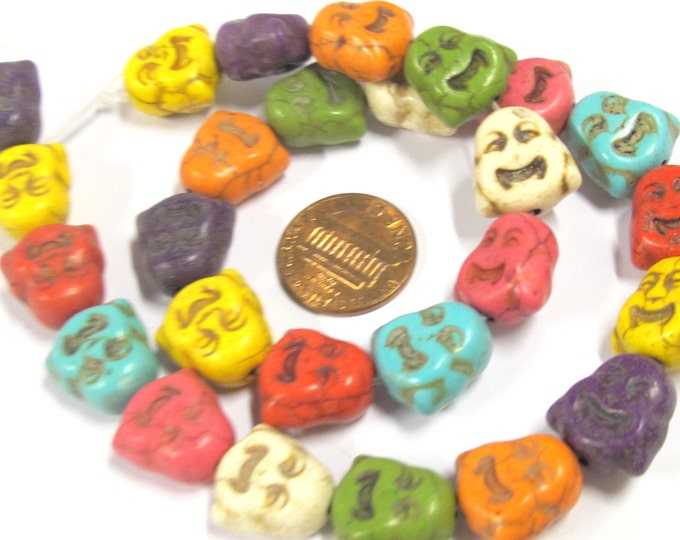 1 Full strand 15 inches - 25 Beads - Mixed colors Happy laughing Buddha face howlite beads - BD807