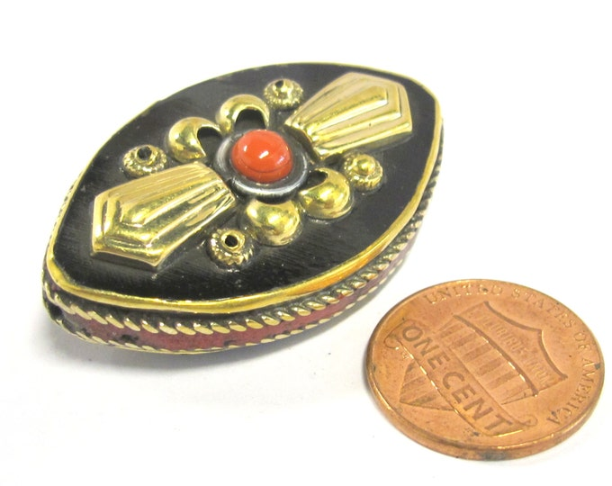 1 Bead - Reversible Tibetan brass inlaid floral design bead with coral inlay -  BD823B