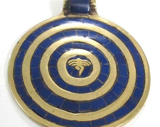 1 Pendant - Large Tibetan brass pendant Buddha eye concentric circles design with lapis inlay - PM273D
