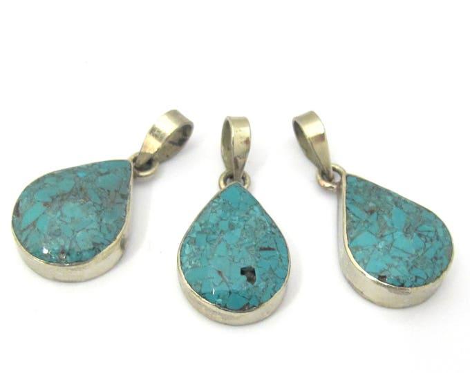 3 Pendants set  - Tibetan silver teardrop shape turquoise gemstone pendant from Nepal -  PM460s