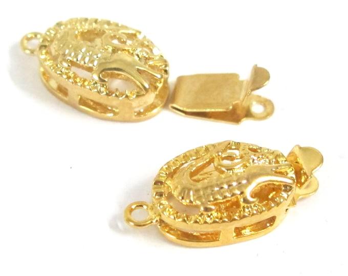 2 clasps - Gold tone plated crocodile alligator box clasp single line LN005K