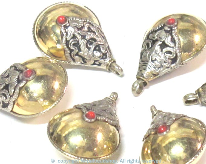 2 Pendants - Tibetan reversible two tone brass teardrop shape  pendant - PM600s
