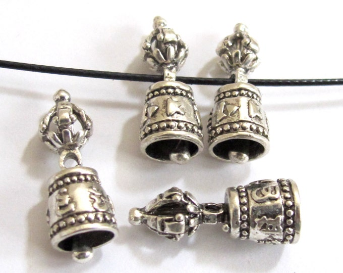 2 BEADS - Beautiful Tibetan om mantra dorje vajra silver plated bell beads mala spacer  - BD563