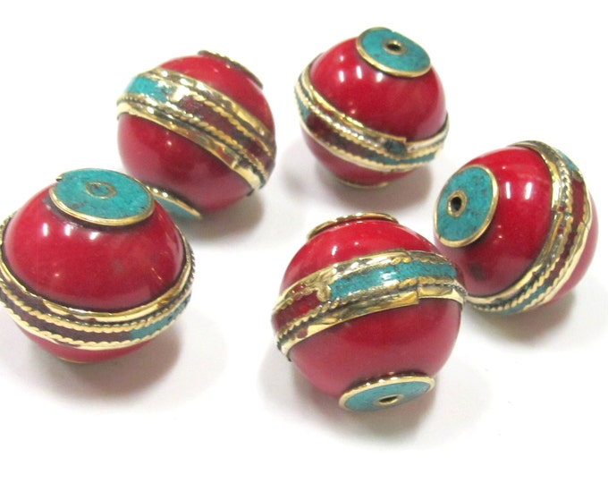 1 Bead - Large Tibetan red Resin bead with brass band and turquoise and coral inlay - BD766