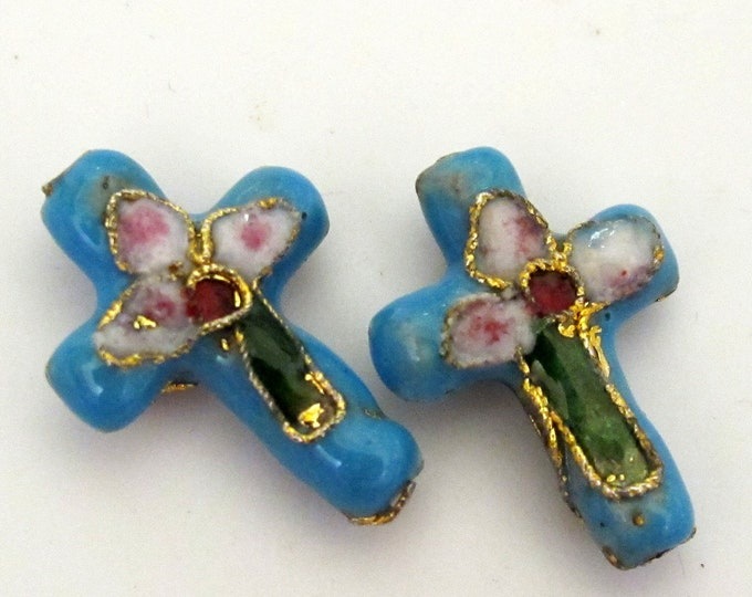 2 pieces - Blue  cloissone cross beads - BD176