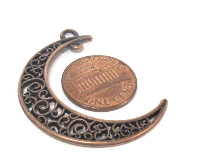 2 charms- Moon shape connector charm pendants supply rustic copper color finish - CM203