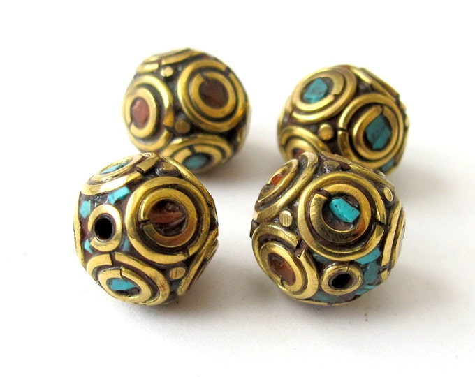 Set of 2 - Nepalese Brass beads with turquoise coral inlay - BD006
