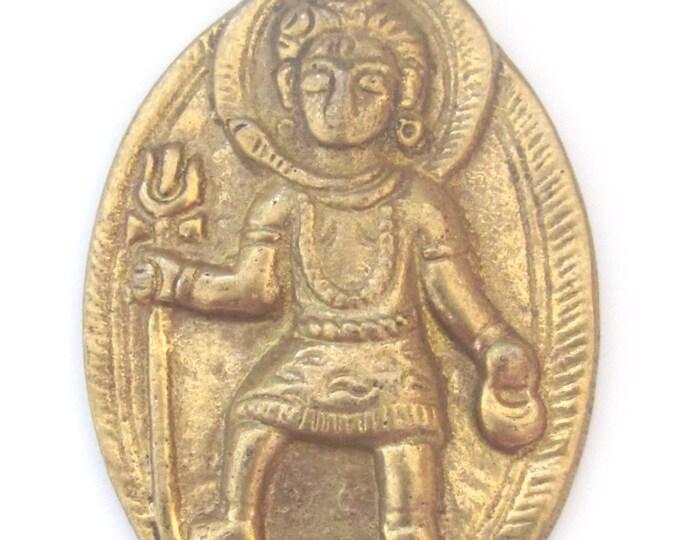 Hindu Lord Shiva with trident and snake brass pendant - 1 pendant - CP024 custom design copyright Nepalbeadshop