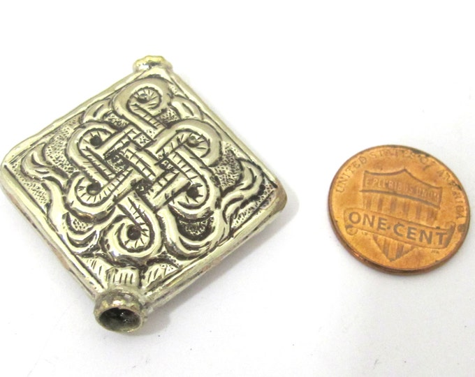 Tibetan bead tibet bead nepal beads metal bead Large size Tibetan silver repousse endless knot bead -  BD846
