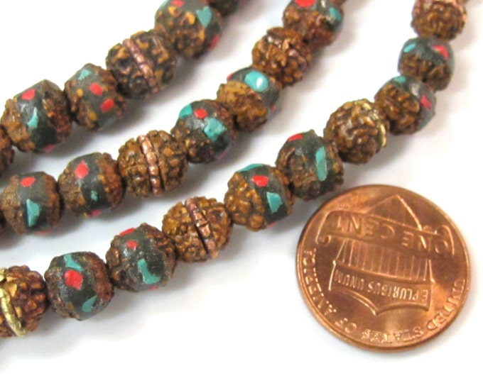 10 beads - 7 mm rudraksha mala beads with turquoise brass coral inlay - mala making supply - ML077B