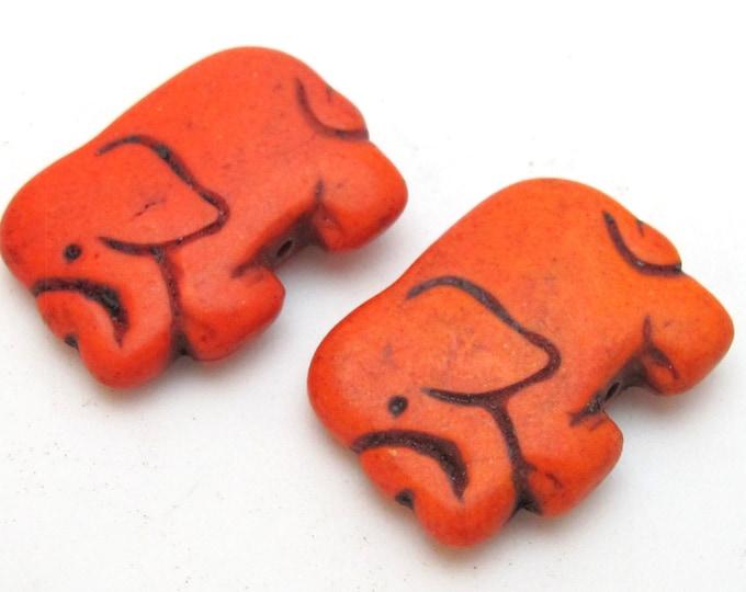 Orange color howlite elephant shape bead pendant - 1 bead - GM242G