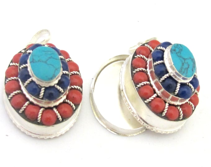 Tibetan silver oval shape tiered design box pendant with turquoise and red blue beads  inlay - PM294D