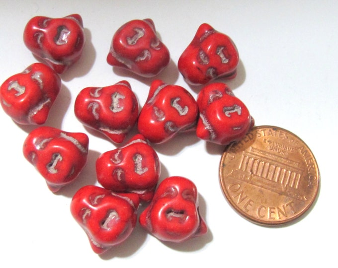 4 BEADS - Smiling Buddha beads Red howlite magensite - BD601C