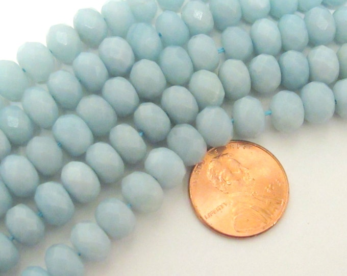 20 BEADS - Small size Faceted Rondelle Amazonite gemstone beads 8 mm x 6 mm - GM038B