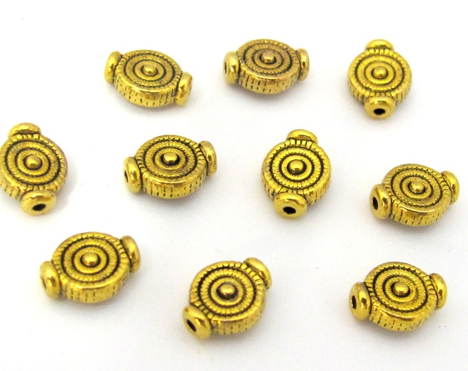 10 Beads - Small size concentric circles design antiqued gold tone metal beads 8 x 10 mm - BD883
