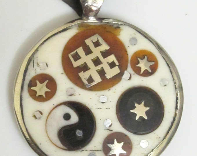 Round yak bone color  tibetan pendant with om -yin yang and knot-PM029