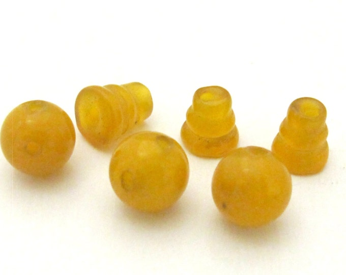 3 sets - Guru Bead set - 3 hole Yellow onyx gemstone Guru column Bead set 10 mm size - GB030s