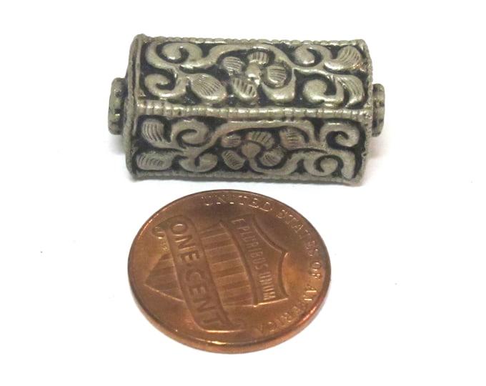 1 BEAD - Tibetan silver repousse floral leaf carving rectangle cube shape bead - BD965