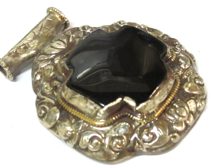 Large Tibetan silver antiqued finish black agate gemstone cross pendant with detailed lotus flower carving on reverse side    - PM581B