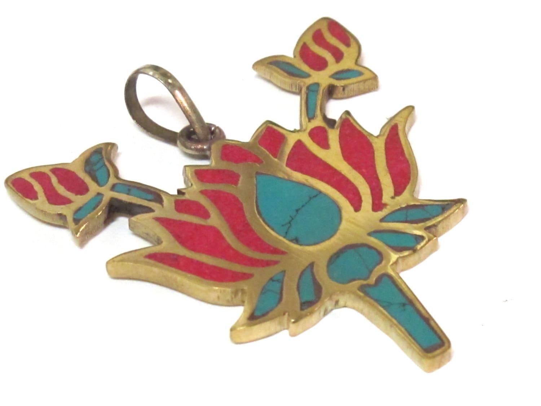 Tibetan lotus flower brass pendant with turquoise coral inlay tibetan lotus flower brass pendant with turquoise coral inlay nepalbeadshop jewelry making supply pm091b izmirmasajfo