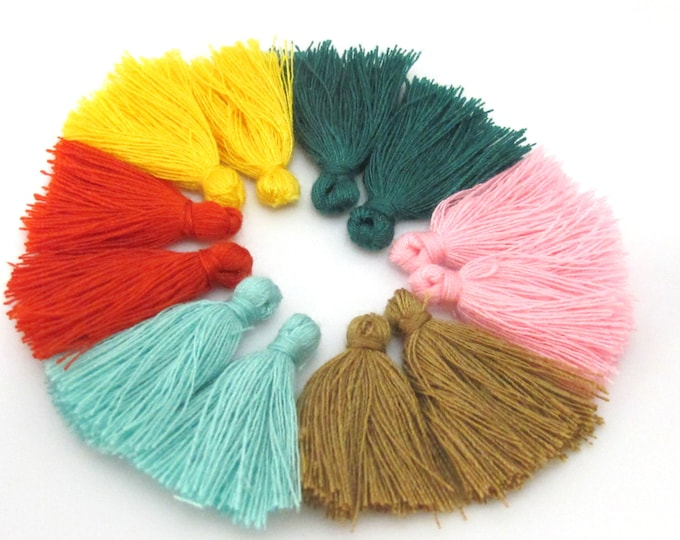 12 Pieces - 6 Pairs assorted colors - Small mini size silky tassel charms jewelry mala supply 1 inch - TS015