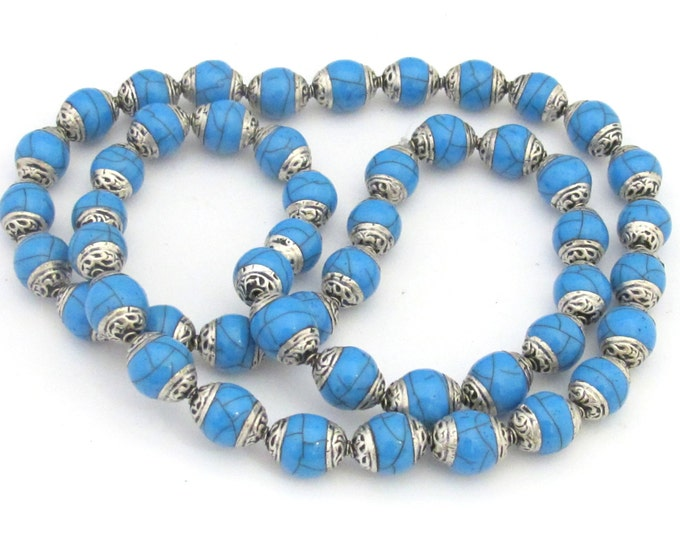 4 BEADS - Tibetan silver capped Blue crackle resin beads  - BD682