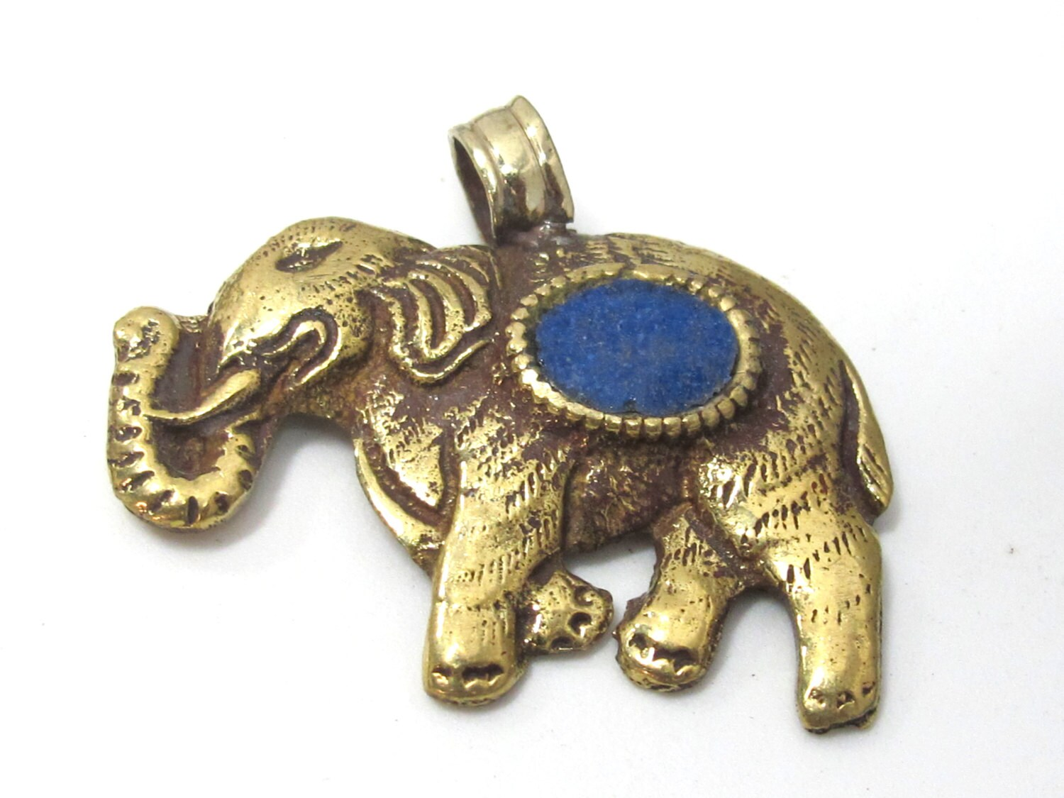 1 Pendant Tibetan Brass Elephant Pendant Antiqued Finish With