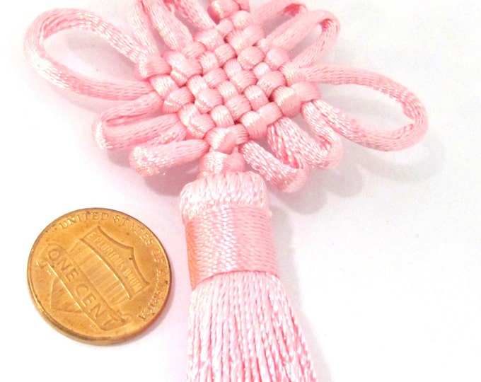 1 Piece  - Long pink chinese infinity knot tassel charm supplies - 8.5 inches long - BD859