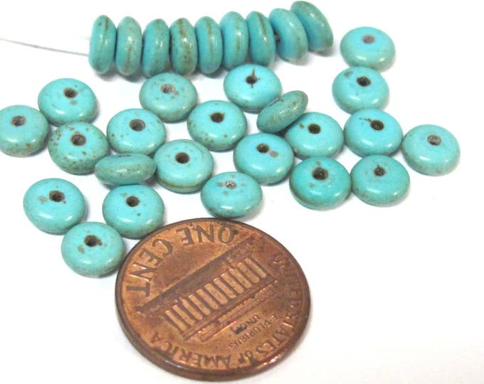 25 beads - Small size Blue color howlite rondelle flat disc beads - small 6 mm size   GM425s