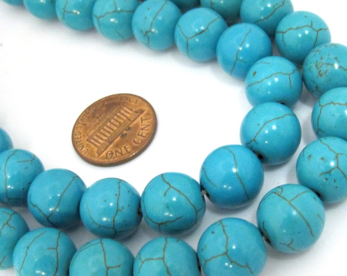 10 Beads - 12 mm size round shape howlite turquoise beads - GM386