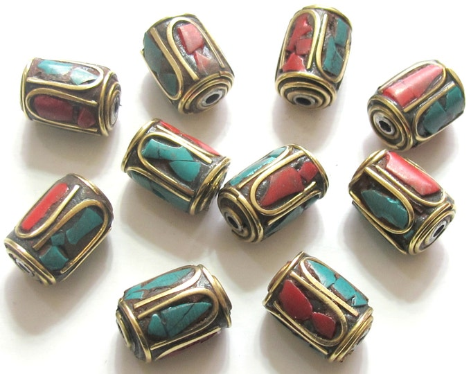 Tibetan barrel tube shape brass beads with turquoise coral inlay  -  10 beads - BD478