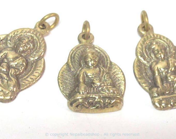 1 pendant - Tibetan brass Buddha charm pendant from Nepal - CP127