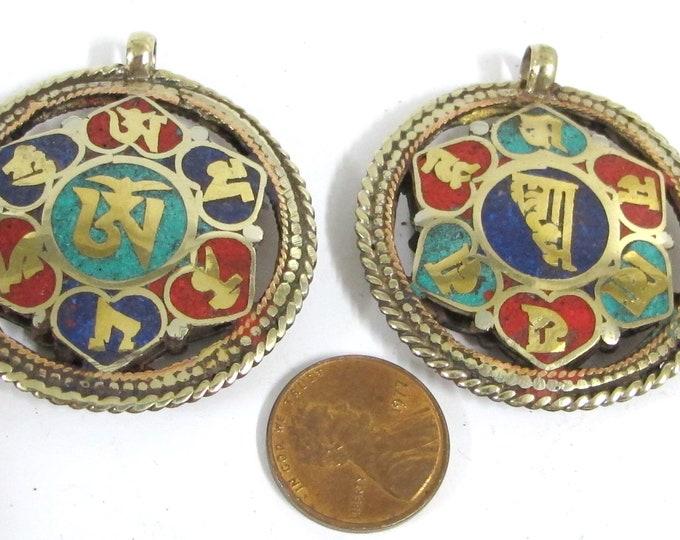 1 Pendant - Reversible Om and Kalachakra mantra Brass filigree pendant lapis coral turquoise inlay aum prayer pendantfrom Nepal - PM529H