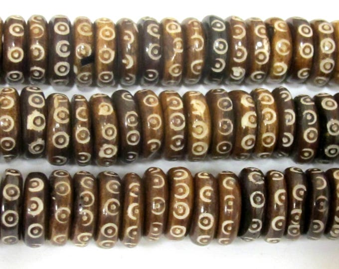 10 Tibetan bone beads - 14 mm size Brown color tribal dotted flat disc bone beads Nepal   - ML097A