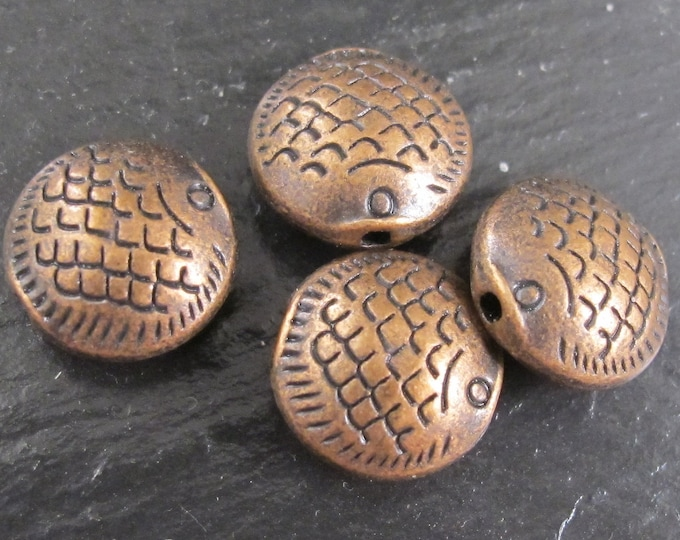 4 beads - Copper tone fish beads -  BD200