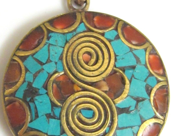 Round shape Tibetan double spiral brass pendant with turquoise coral inlay- 28 mm wide-PM040