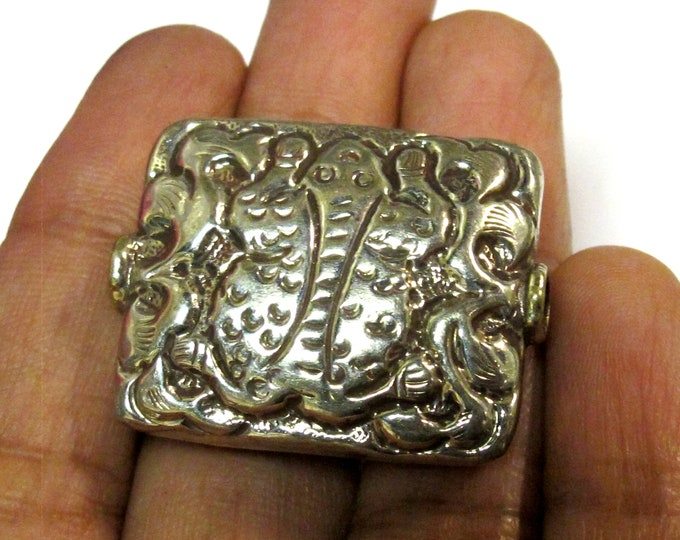 1 BEAD-Large 32 x 26 mm size Tibetan rectangular shape silver finish repousse frog design focal bead - BD492K