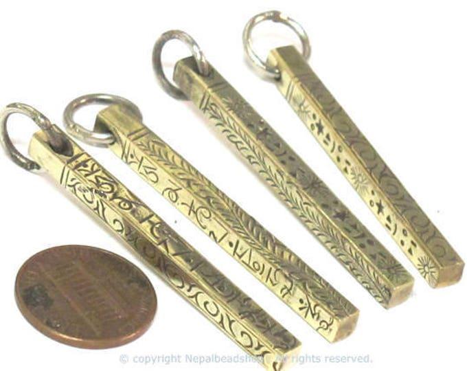 2 pendants - Tibetan rectangular cuboid shape om mantra and tribal design pendant  PM156xa
