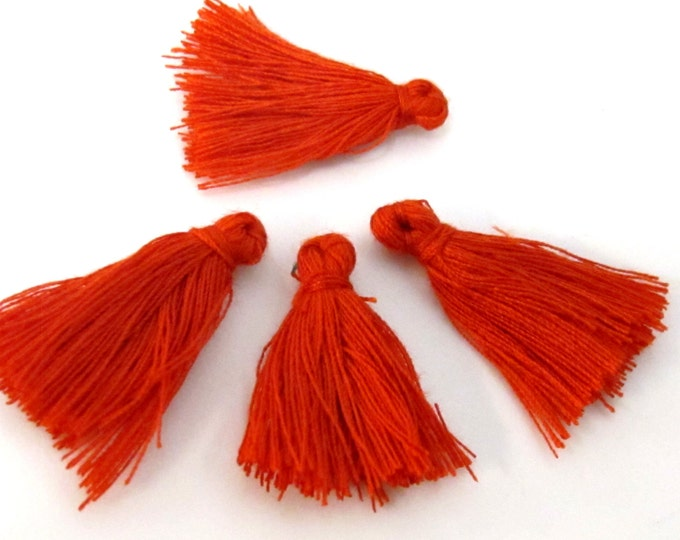 4 Pieces  - Small mini size red color silky tassel charms tassle fringe mala supply 1 inch - TS011