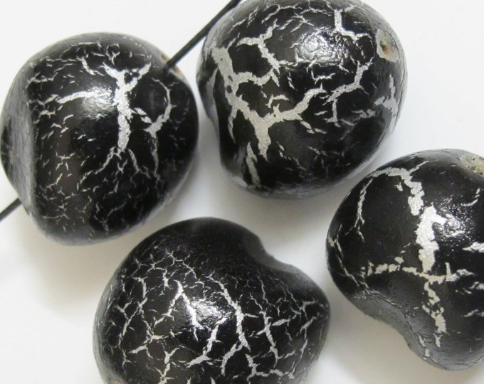 4 beads - large heart shape Painted natural kukui nut beads- NB017