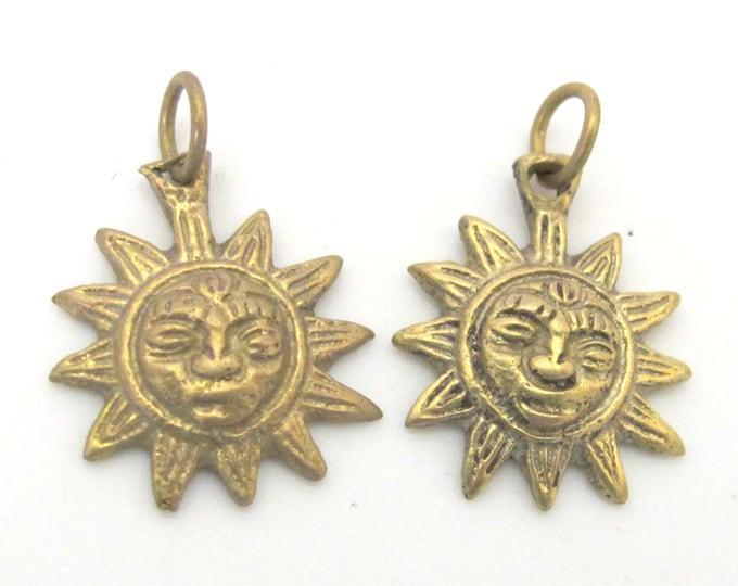 2 Pendants  - Small size solid brass Sun Pendants charms from Nepal - CP058 Custom Design Copyright Nepalbeadshop