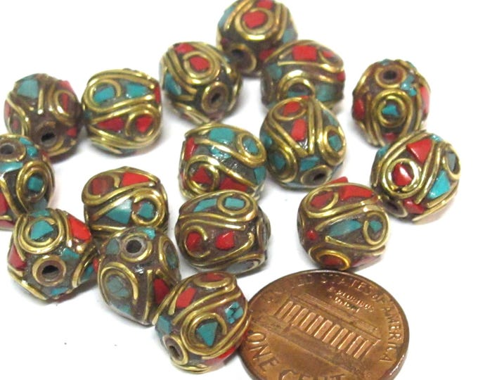 2 Beads - Ethnic Nepal beads Tibetan beads with Brass  turquoise coral inlay spherical shape - BD356A
