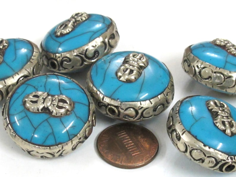 10 Beads BD524Dw-lot Wholesale bulk lot reversible large size Tibetan  blue color crackle resin dorje vajra symbol  beads