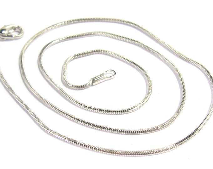 1 chain - Platinum finish plated snake chain 16 inches tarnish resistant chain necklace supply - MG0002C