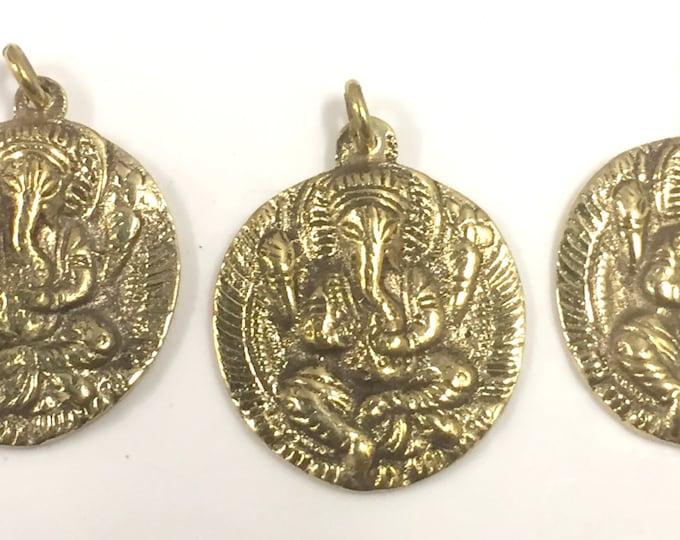 3 Pendants - Shree Ganesha  pendant reverse side inscribed prayer shree ganeshay namah  brass pendant - CP095s copyright Nepalbeadshop
