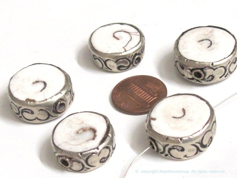 CH074 1 Bead Ethnic nepal beads naga conch shell beads Tibetan beads silver color encased tribal naga conch shell bead 19-22 mm